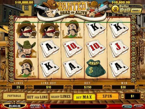 Wanted Dead or Alive Fun Slots by PlayTech with 5 Reel and 25 Line