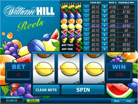 William Hill Reels Fun Slots by PlayTech with 3 Reel and 1 Line