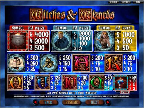Witches and Wizards Fun Slots by RTG with 5 Reel and 25 Line
