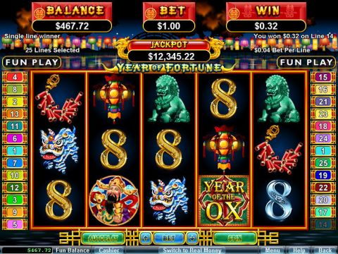 Year of Fortune Fun Slots by RTG with 5 Reel and 25 Line